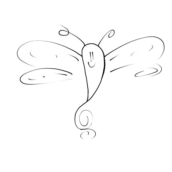 smiley dragonfly line art