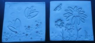blue flower trivets