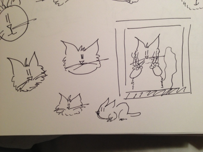 Line art drafts of cats