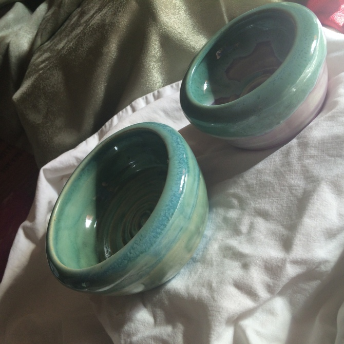 Turquoise and Orchid bowls