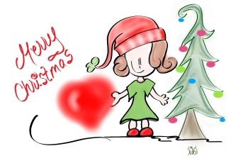 lil christmas girl n tree