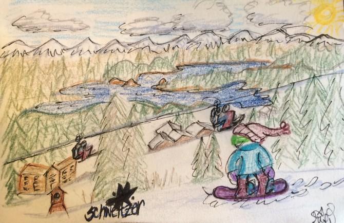 postcard from schweitzer mountain lil girl snowboards