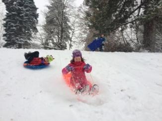 Gemma and Max sledding