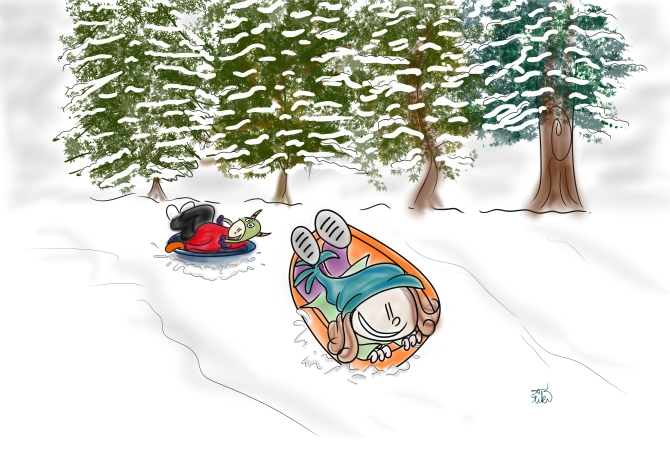 lil girl sleds face down