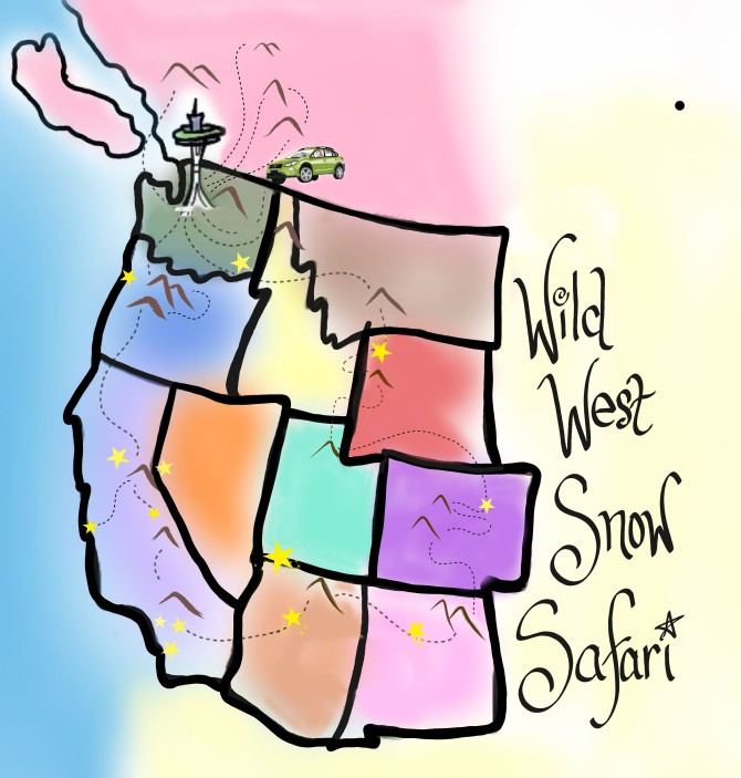 wild west snow safari map cartoon
