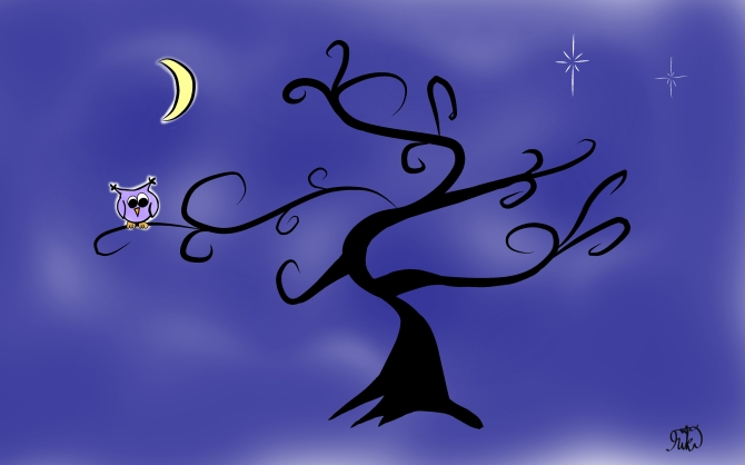 night owl and whimsical tree